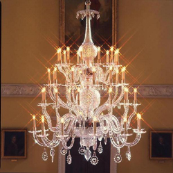 Huge chandeliers with candle holders are also quite popular