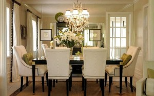 A Chandelier in a modern day dining room