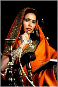 An Indian woman with hookah