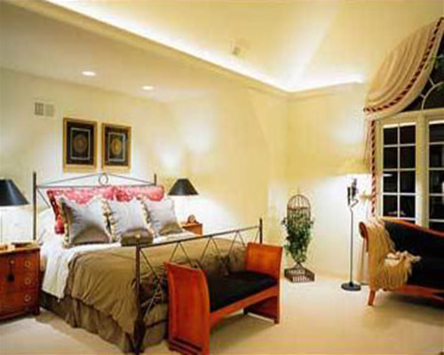 A bedroom beautifully lit up!