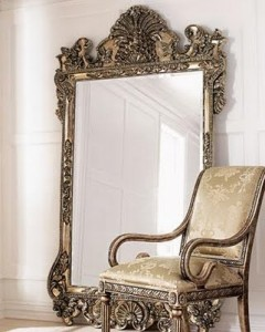A decorative floor mirror