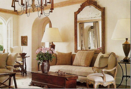 An antique mirror adding a classy look to the feel of this room
