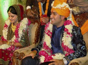 Dhoni and his wife, Sakshi Rawat on their wedding day.