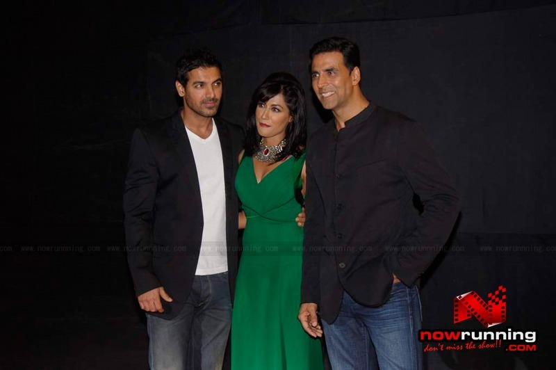 John, Akshay and Chitrangadha Singh at the awards ceremony