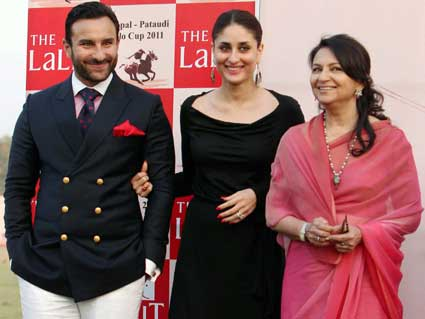 Saif Ali Khan and Kareena Kapoor along with Sharmila Tagore at the Bhopal-Pataudi Polo match.