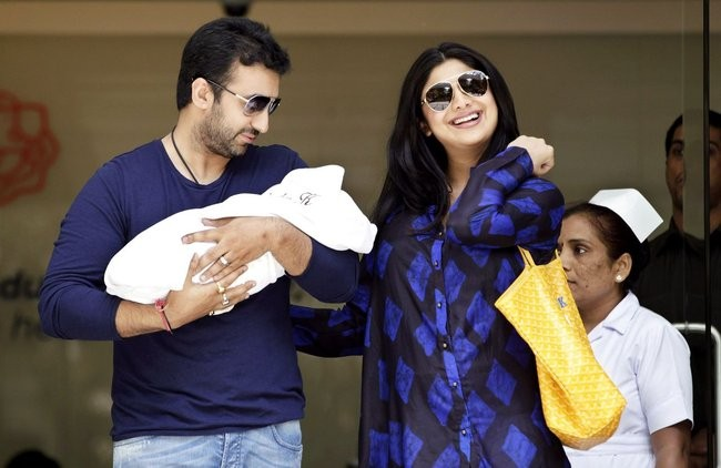 Shilpa Shetty with husband, Raj Kundra and baby Viann