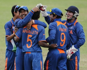Team India celebrates on the field